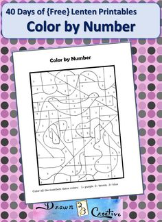 40 Days of Free Lenten Printables: Color by Number! Ccd Activities, Religion Activities, Church Activities, Teaching Religion, Thanksgiving Activities, Catholic Lent, Catholic Crafts, Catholic Prayers, Church Crafts