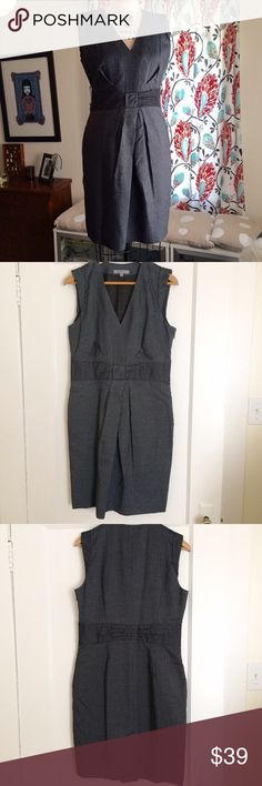 """Classiques Entier pinstriped dress Dark grey pin striped dress by Classiques Entier. Hidden side zipper. Worn once, in excellent condition. Size 10 but slightly on the small side. Fabric has a sheen to it. Fully lined. Skirt is 21"""" from waist. Classiques Entier Dresses"""