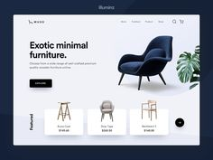 Minimal Furniture Landing Page designed by Yogesh Kumar for illuminz. Connect with them on Dribbble; the global community for designers and creative professionals. Ecommerce Webdesign, Webdesign Layouts, Wordpress, Website Design Inspiration, Design Web, Web Layout, Layout Design, Magazine Ideas, Catalog Design