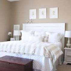 DIY: Shiplap Headboard More #coastalcottagebedroom