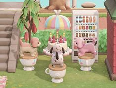 Animal Crossing Guide, Animal Crossing Qr Codes Clothes, Pink Animals, Cute Animals, Happy Home Designer, Island Map, Pink Table, New Leaf, Rowan