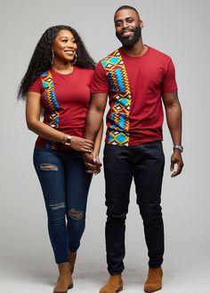 Kwau African Print T-Shirt (Marron/Sky Blue Yellow Kente) African Wear Styles For Men, African Shirts For Men, African Attire For Men, African Clothing For Men, African Style, Couples African Outfits, African Dresses Men, Latest African Fashion Dresses, African Men Fashion