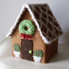 Handmade gingerbread house from felt
