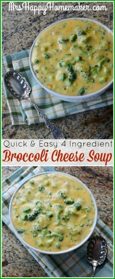 Looking for a delicious dinner to literally whip up in a matter of minutes? This Quick & Easy 4 Ingredient Broccoli Cheese Soup is right up your alley! | MrsHappyHomemaker.com @thathousewife