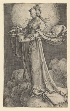 """St. Mary Magdalene on the Clouds"" Artist: Lucas van Leyden (Netherlandish, Leiden ca. 1494–1533 Leiden) Date: 1518 Medium: Engraving Classification: Prints"