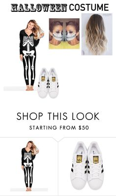 """Skeleton costume in onesie"" by dianamarierg ❤ liked on Polyvore featuring adidas Originals, halloweencostume and DIYHalloween"