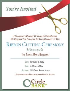 Ribbon cutting invitation design template grand opening sample ribbon cutting invitations circle bank 999 grant ribbon cutting your invitation awaits stopboris Image collections