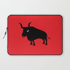Angry Animals: Bull Laptop Sleeve - This bull is one of the bad-tempered beasties in our series of Angry Animals. Black and white on a bright red background. Not just for Tauruses ;)  #bull #taurus #red #black #angryanimals #laptopcase #laptopsleeve