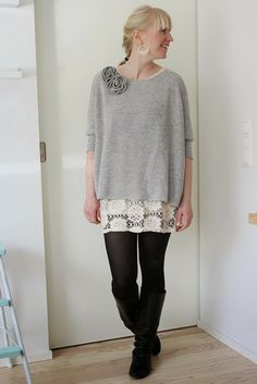 Lace dress, grey sweater and black tights / Kotisaari
