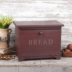 Wooden Bread Box with inside shelf - decorative and functional!