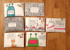Decorate your envelopes !!! {source: Snailmail Magazine}. This site has some really inventive and artsy printables.