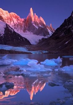 Crimson crags of Cerro Torre Mountain in Patagonia, Argentina/Chile by Michael Anderson landscape Cool Pictures, Cool Photos, Beautiful Pictures, Amazing Photos, Natural Scenery, Oh The Places You'll Go, Amazing Nature, Belle Photo, Beautiful Landscapes