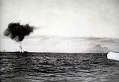 JUL  19 1940 HMS Sydney's surprise attack on Italian cruisers - See more at: http://ww2today.com/Italian cruiser Bartolomeo Colleoni under attack from HMAS Sydney and destroyer flotilla.
