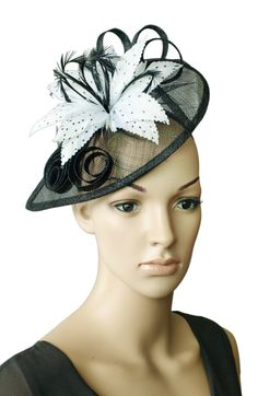 Black/ White Sinamay Wedding Fascinator Hats Corsage Flower Feather Hair Band Headband