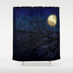 Art Shower Curtain Blue Moon photography home decor photograph Royal Navy Blue Sky photo stars Black Gothic skyscape nature bathroom decor