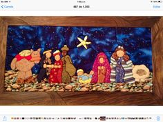 Patchwork sin Aguja Christmas Jesus, Christmas Nativity, Christmas Art, Christmas Projects, Xmas, Christmas Wall Hangings, Quilting, Holy Night, Hanging Pictures