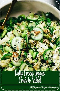 This nutty green veggie crunch salad ranks among my all-time favorite recipes. It's chock-full of nutritious green vegetables and so, so fun to eat. The best of both worlds wrapped up in one crisp, refreshing salad! Easy Salad Recipes, Chicken Salad Recipes, Easy Salads, Real Food Recipes, Vegetarian Recipes, Easy Meals, Healthy Recipes, Healthy Salads, Free Recipes