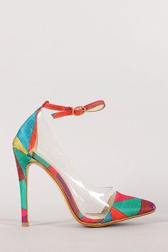 Multicolor Lucite Pointy Toe Stiletto Pump
