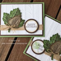 #vintageleaves by Stampin' Up!  Love the new burlap ribbon !  www.bonniestamp.stampinup.net