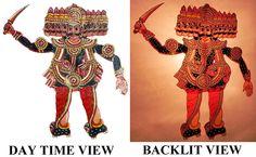 Hand Painted Ravana - Perforated Leather Puppet from Andhra Pradesh - Leather Craft from Andhra Pradesh (Leather) Leather Art, Painting Leather, Leather Crafts, Kathakali Face, Krishna Leela, Indian Tribes, Hanuman, Handicraft