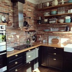 46 cute and small kitchen design ideas. Small kitchen design ideas should be ways you come up with to save as much space as possible while having everything you . Rustic Kitchen Island, Rustic Kitchen Decor, Kitchen Islands, Ikea Kitchen, Kitchen Cabinets, Homey Kitchen, Functional Kitchen, Stylish Kitchen, Black Cabinets