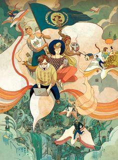 Brillante ilustración editorial de Victo Ngai