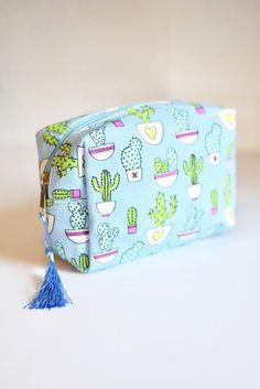 """Cactus makeup bag with tassel zipper. - 6.75"""" W; 4.5"""" H; 3"""" D - Cotton"""