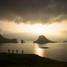 Sunset over Tindhólmur, Vagar, Iceland - Chris Burkard Artifact Uprising, Faroe Islands, Iceland, Monument Valley, Environment, Europe, Explore, Adventure, Sunset
