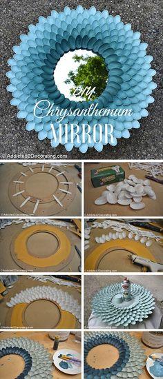 How to Make A Decorative Chrysanthemum Mirror   DIY Crafts Tips