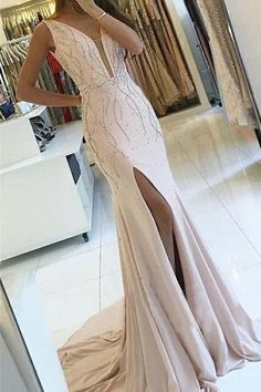 Sheath V-Neck Sweep Train Pearl Pink Backless Prom Dress with Beading PG519 #longpromdresses