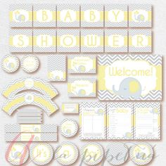 Babyshower Elephant Party Package. Instant download. by Pipetua