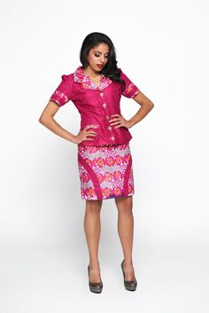 Pink Multicoloured Woodin Ankara African by KwestomarKreations African Wear Dresses, Latest African Fashion Dresses, African Print Fashion, Africa Fashion, African Attire, African Prints, Ankara Mode, Hollister Style, Ankara Skirt And Blouse