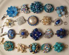 Vintage Peacock Teal Blues Pearl & Rhinestone Bridesmaids Bracelet, Heirloom Cluster Earring Bracelet OOAK.