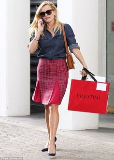 Leggy display: Reese Witherspoon stepped out looking ready for business in Beverly Hills on Monday