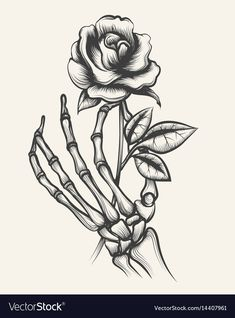 Skeleton hands with rose flower vector image on VectorStock Dark Art Drawings, Tattoo Design Drawings, Pencil Art Drawings, Art Drawings Sketches, Tattoo Sketches, Cool Rose Drawings, Skeleton Hands Drawing, Skeleton Hand Tattoo, Skeleton Art