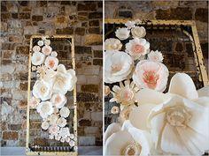 Grand display of handmade paper flowers in ivory with accents of coral and gold, organically displayed on a vintage iron cot.  What an AMAZING photo backdrop!  A Wanaka Wedding (www.awanakawedding.co.nz).