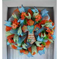 We Live by Faith! Deco mesh Wreath with chevron ribbon