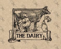 Vintage image Farm Dairy Rural Black and White Retro Drawing Instant Download Digital printable clipart graphic iron on tote towel HQ 300dpi by UnoPrint on Etsy