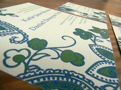 Floral Paisley Wedding Invitations by papermadeinvites on Etsy, $2.00