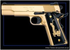 (FACE OFF).M1911-A1 Gold Limited Edition (Gas Blowback Model Gun.