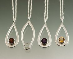 One Sterling Silver Pendant with 8mm Gemstone by JenLawlerDesigns