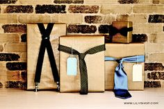 Ties and suspenders as gift toppers