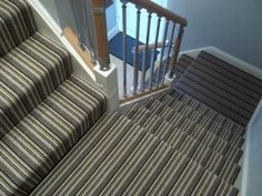 Striped Carpet Stairs, Striped Carpets, Carpet Staircase, Stair Landing, Hallway Designs, Luxury Vinyl Tile, Modern Farmhouse, New Homes, Flooring