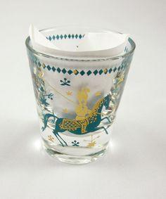 Shot Glass Vintage Blue Aqua Gold Polo Horses Game Mid Century Modern Whiskey