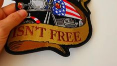 Freedom Isn't Free Motorcycle Eagle Embroidered Iron on Biker Patch Biker Back Patches, Iron On Patches, Red White Blue, Black And Brown, Biker Wear, Presidents Day Sale, Patch Design, Leather Vest, American Flag