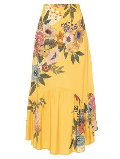 FARM Bong Floral Long Skirt - Yellow - { fave outfits - outfit - looks } - Saias Modest Skirts, Plus Size Maxi Dresses, Cute Skirts, Pretty Outfits, Pretty Dresses, Long Sleeve Mesh Dress, Gown Pattern, Evening Outfits, Vintage Dresses