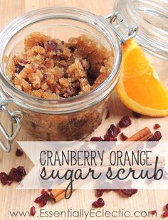 Cranberry Orange Sugar Scrub Recipe - An easy, fall-themed sugar scrub made with white (or brown) sugar, dried cranberries, orange zest, cinnamon, and almond or coconut oil.