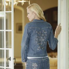 Silver Cross Jacket   from Midnight Velvet.   Ornate silver embroidery adds a beautiful flourish to the denim jean and jacket.