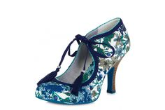 Ruby Shoo Willow Blue Floral High Heel Shoes