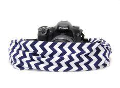 Navy & White Chevron Scarf Camera Strap - Capturing Couture